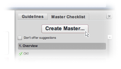 The Create Master button in the Content Creator