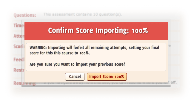 The confirm import window