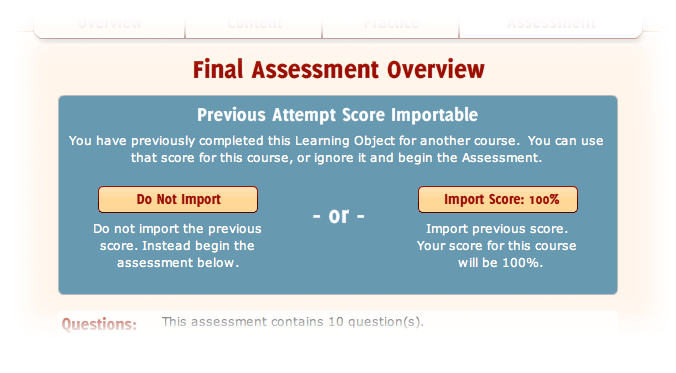 The assessment page with the blue option box