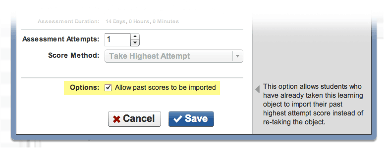 The 'Allow past scores to be imported' option
